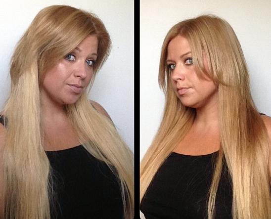 Tutorial ombre colouring hair extensions darker 30somethingmel before left and after right pmusecretfo Images