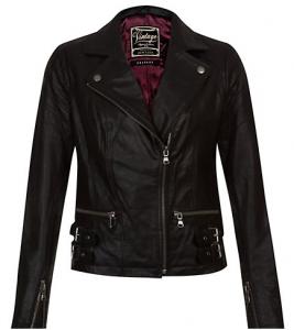 Black Leather Buckle Hem Biker Jacket £69.99