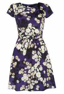 Blue and Black Daisy Print Cap Sleeve Dress £22.99