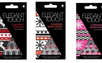 Elegant Touch Press-On Nails Christmas Jumper Collection (l-r): Reindeer, Snow Hearts and Snowflake