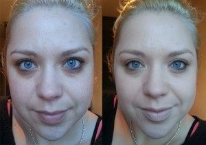 Max Factor Face Finity All Day Flawless 3 in 1 Foundation in Light Ivory 40 - BBefore (Left), After (Right) without flash