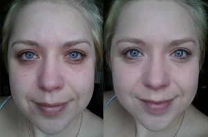 Maybelline Superstay Better Skin Foundation in Light Beige 005 - Before (Left) After (Right)