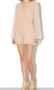New Look Shell Pink Bell Sleeve Chiffon Wrap Playsuit £19.99
