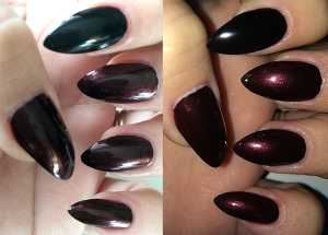 Wild About Beauty Nail Polish Michael (On Index) and Jake (Rest of Nails) swatch (left) Without Flash (Right) With Flash