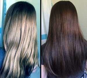 Vidal Sassoon Salonist Permanent Hair Colour 3/0 Darkest Neutral Brown - Before (Left) and After (Right)