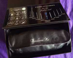 The travel case is small and compact when closed. The box shows an image of each of the wand attachments and its size.