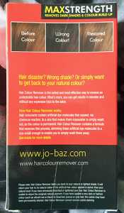 JoBaz Hair Colour Remover Max Strength - Rear of packaging