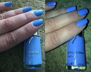 No7 Gel-Look Shine Nail Polishes in Bluebell - (Left) Without Flash (Right) With Flash