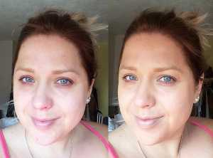 LA Girl HD Pro bb Cream and Pro Concealer - (Left) No Makeup (Right) Pro bb Cream and Pro Concealer