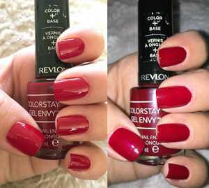 Revlon Colorstay Gel Envy Nail Polish Queen of Heart - (Left) Without Flash (Right) With Flash *Photos taken without application of Diamond Top Coat