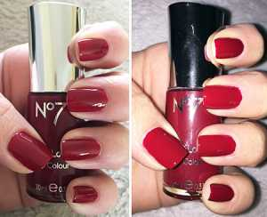 No7 Gel Effect Nail Polishes in Red Velvet (left) without flash (right) with Flash