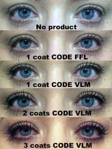 CODE FFL Forget Fake Lashes & VLM Volumising Lengthening Mascara before and after