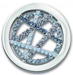Mi Moneda Danza Ice Blue Swarovski crystal coin in medium
