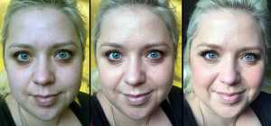 Smashbox Camera Ready BB Water (Left to Right) - No Makeup, 1 light application of BB Water in Light, With full face of makeup (no powder)